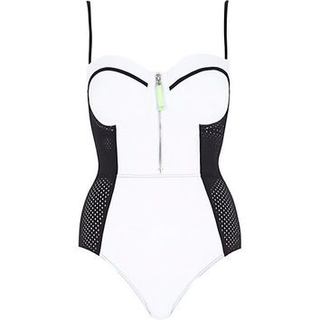 River Island Womens White and black mesh zip swimsuit