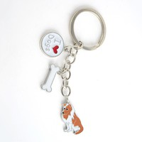 Shetland sheepdog pendant keychain key rings for men women silver color metal alloy sheltie dog bag charm car key chain holder