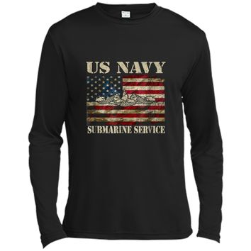 Vintage US Navy Submarine Service American Flag  Long Sleeve Moisture Absorbing Shirt