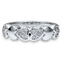 Micro Pave Cubic Zirconia CZ Sterling Silver Multi Heart Fashion Ring #r580