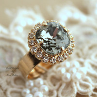 Black Diamond adjustable ring Gray white Rhinestones - 14k 1 Micron thick plated gold adjustable ring real swarovski rhinestones.