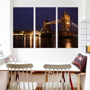 Canvas Painting Tower Bridge Wall Pictures for Living Room London View Art Works Cuadros Decoration Home Decor No Frame 3 Pieces