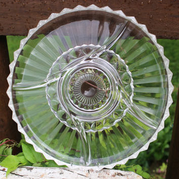 Vintage divided relish dish, vintage depression glass serving platter, cut glass divided platter, pressed glass tray, wedding shower serving