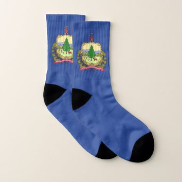 All Over Print Socks with Flag of Vermont