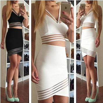 New Fashion Casual Two Piece Bodycon Midi Skirt Set, Women Long Sleeve Crop Top and Pencil Skirt Set Party Clubwear White Black