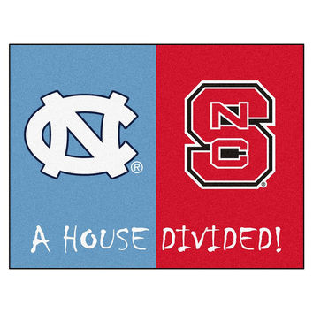 N Carolina Tar Heels- N Carolina St Wolfpack NCAA House Divided NCAA All-Star Floor Mat (34x45)