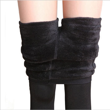 8 Colors Autumn And Winter Women's Warm Leggings Fashion Plus Thick Velvet Warm Seamlessly Cashmere Leggings