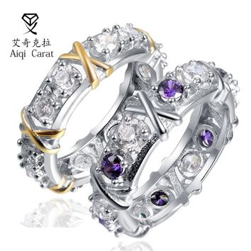AIQICARAT Hot Sale Trendy Silver Ring Two color Zircon Classic Fashion jewelry for Women Party Wedding Date