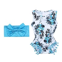 2 pcs/lot Baby Girls Clothes Infant Clothes Sleeveless Blue Tassel Romper Jumpsuit Newborn Baby Rompers Clothing Set