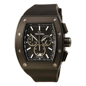 TW Steel CE2006 Men's CEO Tonneau Black Dial Black Silicone Strap Chronograph Watch