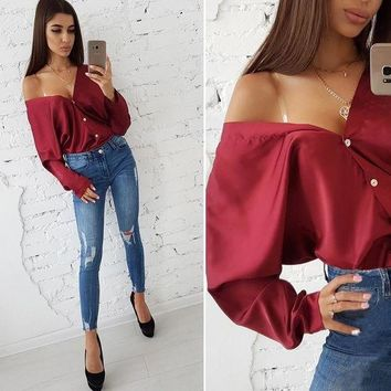 DCCK Spring Tops 2019 Fashion Solid Sexy Deep V-neck Off Shoulder Long Sleeved Blouse Casual Button Loose Bat Sleeve Party Shirts