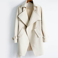Turn-down Collar Trench Coat Feminino Women outerwear&coats,fashion Solid Color Slim Autumn Winter coat,trench Coat TT1622