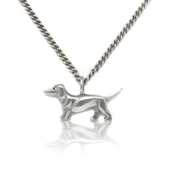 Silver Dachshund pendant on silver chain, sterling silver, dog, dachshund jewelry, hunt, costume jewelry, Dirndl jewelry, Bavarian Style