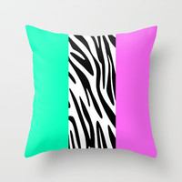 Zebra National Flag Throw Pillow by MN Art