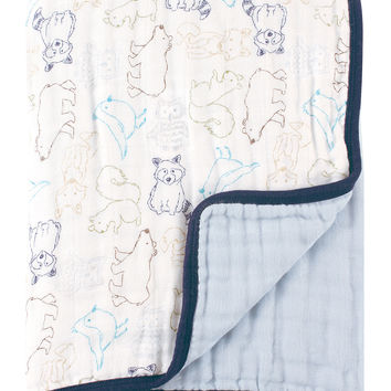 Touched by Nature 46 x 46 Blue Woodland Organic Muslin Double-Layer Blanket | zulily