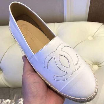 Chanel Fashion Women Comfortable Classic Simple Espadrilles Flat Single Shoe Pure White