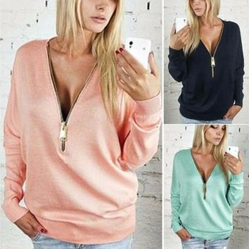 Sexy Women's Deep V T-shirt Zip Up Long Sleeve Tops Pullover Sweatshirt Jumper Jacket Coat [8045199495]