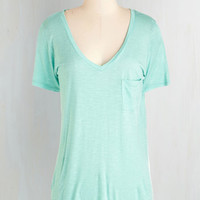 Mid-length Short Sleeves Begin with Brightness Tee in Aqua