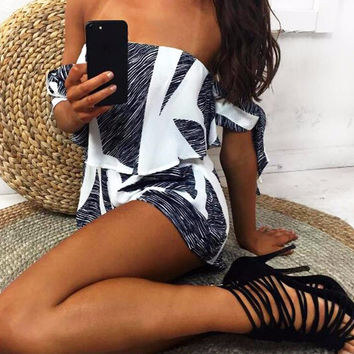 Luna White & Black Geometric Romper