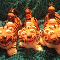 A Set of Three Peruvian Whimsical and Adorable Tiger Figurine Folk Art With  Terracotta Glazing Made Casals Peru