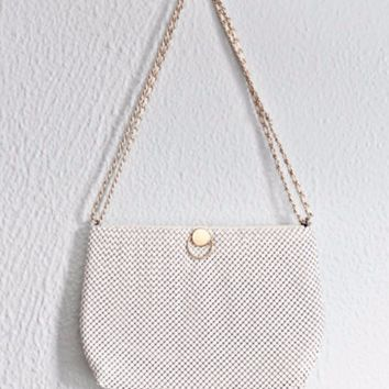Vintage 1980s White Metal Mesh + Handbag  Purse