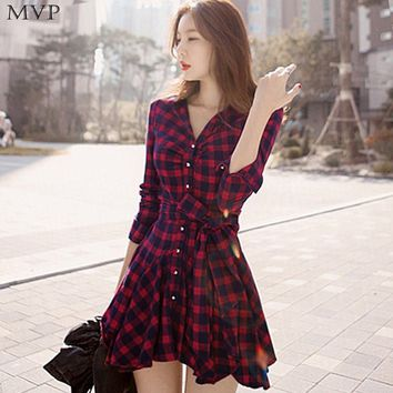 Winter Dress Women Vintage Vestidos mujer Women Shirt Dress Mini Plaid Dresses Irreggular Long Sleeve Lapel Red Party Dress