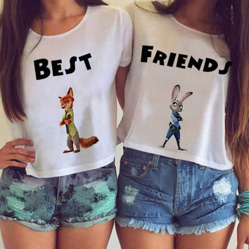 The Best Friends Crazy Animal City Fox And Rabbit Pattern T shirt Short Sleeve Harajuku Kawaii White T-shirts Women Tops F1738