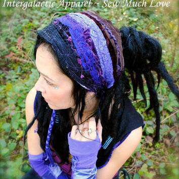 Hippie HeadbaNd, Gypsy Headband Pixie HeadbaNd, FesTivaL ClothinG, OriginaL Intergalactic AppaRel, Tribal Headband, Hippie Clothes