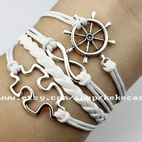 Puzzle Piece and autism awareness charm bracelet infinity wish&rudder bracelet white wax cord and braid leather friendship gift.-T124