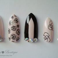 3D Bling Fake Nail Set  - Black & Pink Stiletto Nails with Roses and Crystal Rhinestones