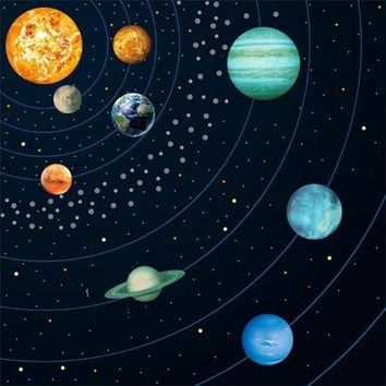 9pcs/set Cosmic Nine Planets Wall Stickers Solar System Star Luminous Stickers Large Fluorescent Wall Decal Home Decor