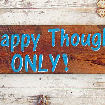 Wood Wall Hanging for Living Room, Wood Signs Sayings, Happy Thoughts Only