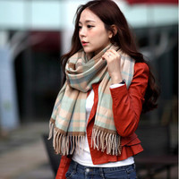 2015 autumn and winter oversize plaid tassel big scarf shawl,colorful fashion plaid scarves for women free shipping