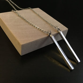 Silver Bar Pendant Necklace, long necklace