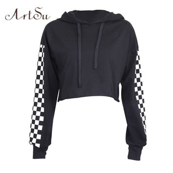 ArtSu Fall 2017 Fashion Kpop Patchwork Plaid Long Sleeve Cropped Hoodie Hoody Sweatshirt Black Punk Harajuku Sudadera ASHO20129