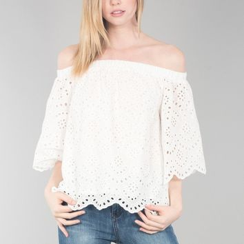 Off Shoulder Bell Sleeve Lace Top - Off-White