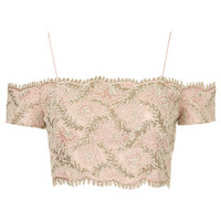 Limited Edition Lace Bardot Bralet Top - Pale Pink