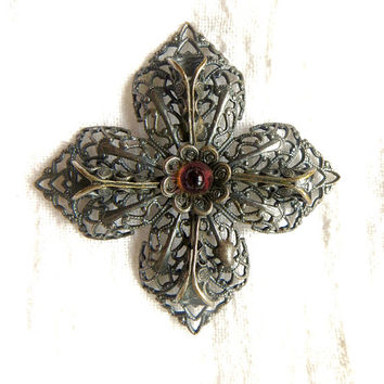 Vintage Maltese Cross Brooch, Silver Filigree Malta Cross Pin, Amethyst Glass Center Stone, Maltese Cross Jewelry, Paris Inspired Cross
