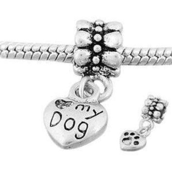 European Charm Metal Bead Dangle Heart Love My Dog/paw Print