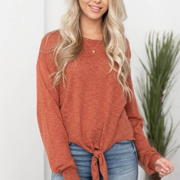 Long Sleeve Front Knot Top
