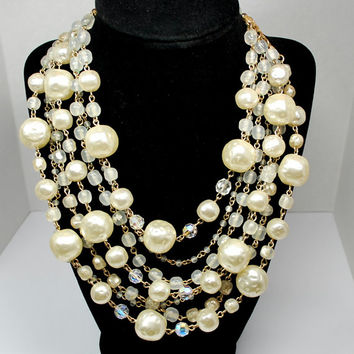 Vintage 5 Strand Pearl Crystal Glass Beaded Necklace Large Pearls White Cream Statement Necklace Ornate Gold Clasp Accents #vintagejewelry