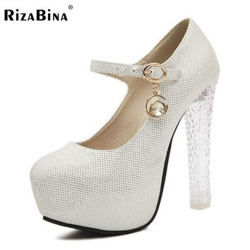 RizaBina Lady Stiletto Ankle Strap Wedding Shoes Women Thick Crystal High Heels Inside Platform Court Shoes Size 34-39 K00626