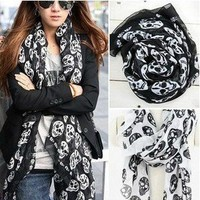 Free New Fashion Womens girls beautiful skull scarf wrap shawl