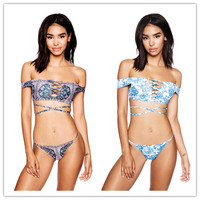 Fashion Female Beach Print Off Shoulder Open Chest Irregular Crisscross Straps Backless Bikini Triangle Swimwear Set Two-Piece