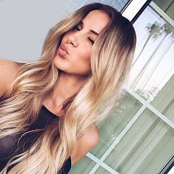 Synthetic Wig Natural Wave Middle Part 180% Density Synthetic Hair Fashionable Design / Fashion / Wedding Black / Blonde Wig Women's Long Capless / African American Wig