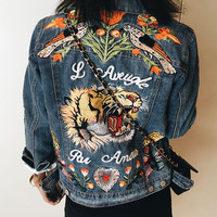 Women Tiger Butterfly Flower Bird Animal Pattern Embroidery Denim Jacket Turn Down Collar Coat Outwear YN-4338