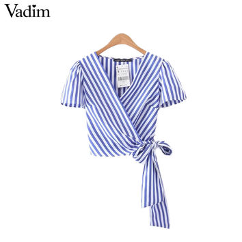 Vadim striped cross V neck crop tops bow tie short sleeve short shirts ladies casual tops blouses DT1097