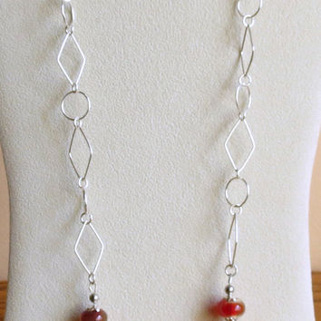Red and Yellow Marble Necklace with Red Lampwork Beads and Sterling Silver, Smokeylady54