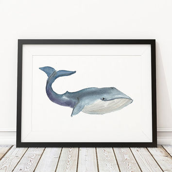 Nursery print Whale poster Watercolor art ACW21