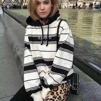 Supreme Fashion Letter Embroidery Stripe Loose Hooded Top Sweater Pullover